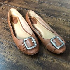 Fossil Brown Buckle Flats